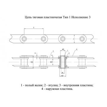 Ланцюги Тягові пластинчасті ГОСТ 588-81 Тип 1. Виконання 3