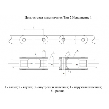 Цепи Тяговые пластинчатые ГОСТ 588-81 Тип 2. Исполнение 1.