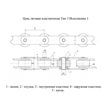 Цепи Тяговые пластинчатые ГОСТ 588-81 Тип 3. Исполнение 1.