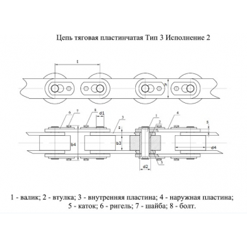 Цепи Тяговые пластинчатые ГОСТ 588-81 Тип 3. Исполнение 2.