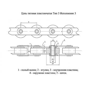 Цепи Тяговые пластинчатые ГОСТ 588-81 Тип 3. Исполнение 3.