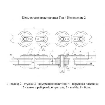Цепи Тяговые пластинчатые ГОСТ 588-81 Тип 4. Исполнение 2.
